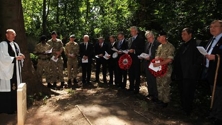 Ceremony to rededicate a headstone in Tower Hamlets cemetery for soldier John Buckley.