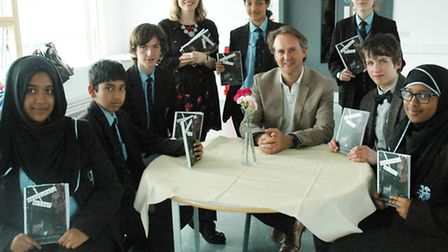 Some of the pupils in Morpeth's 'Absolutely Write!' anthology project with their writer-in-residence