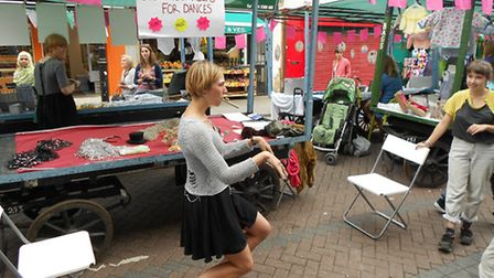 A performer from Chisenhale Dance organisation at Roman Road festival on Sunday, July 6