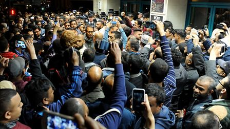 Crowds of Lutfur Rahman supporters outside the Tower Hamlets election count in May. Photo: David Mir