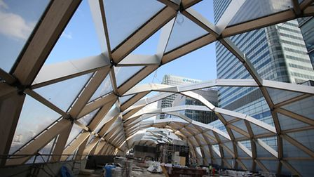 The retail development at Canary Wharf Station is part of the tour