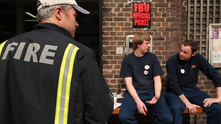 Firefighters at Whitechapel fire station on strike last year over pension reforms (pic: Isabel Infan