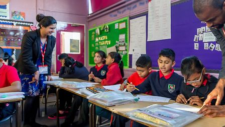 Getting ready for secondary education... pupils in a Tower Hamlets Business Partnership lesson