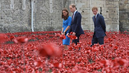 The Duke and Duchess of Cambridge with Prince Harry visited the Tower of London's 'Blood Swept Land
