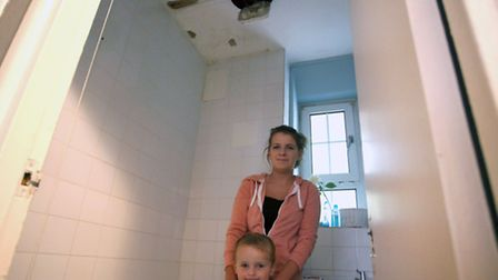Christy Rush and her three-year-old son, Bobby, have lived in a leaky council property since last Se