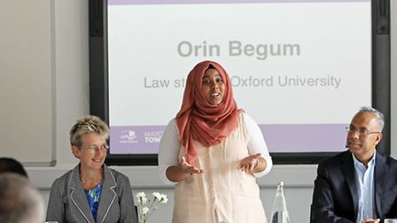 Orin Begum, now studying Law at Oxford, speaking at last month's bursary scheme launch
