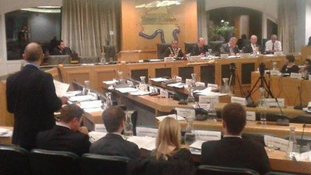 Empty seats... Tower Hamlets First group members walk out over High Court council audit issue, as To