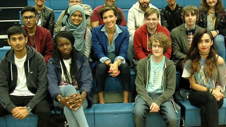 Government advisor Prof Tanya Byron (centre) at her lecture to Bethnal Green's Morpeth Sixthform
