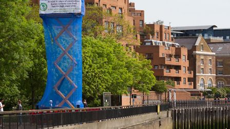 Protesters in 2011 erect mock tower on Shadwell waterfront to show how big sewer venrtillation shaft