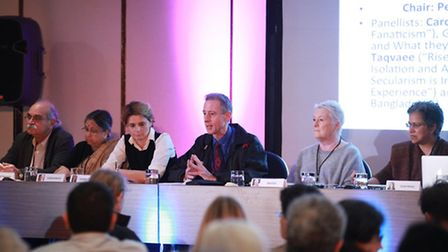 Panel discussion chaired by Peter Tatchell (centre) with Hamid Taqvaee, Sultana Kamal, Caroline Four
