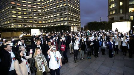 Hundreds light night sky in Canary Wharf for Leukaemia and Lymphoma Research charities