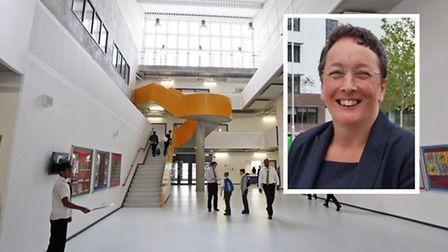 The new Bow School complex and (inset) head-teacher Cath Smith