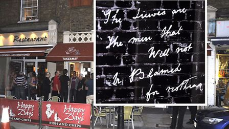 Restaurant today where Jack the Ripper's graffiti was scrawled in doorway in 1888 and (inset) what i