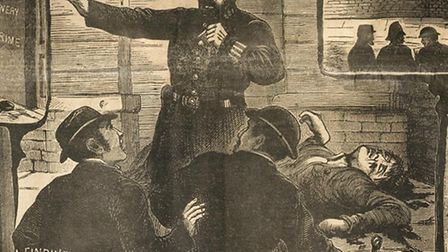 Discovery of Eddowes body in Mitre Square, from Illustrated Police News, Oct 6, 1888
