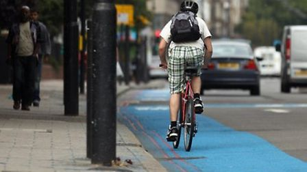 Cycle highway along A11 in east London towards Aldgate