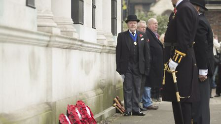 Wreath layers at the Remembrance Day memorial service inTrinity Square Gardens
