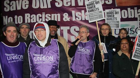 Unison trade union protesters outsideTower Hamlets Council's meeting urging Mayor Rahman stands up t