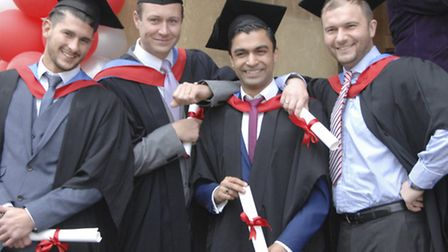 Shah Raja [2nd from right] one of the 'bright spark's graduating in UK Power Networks' engineering p
