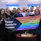 James (back right wearing a white shirt) with colleagues from Tower Hamlets Homes