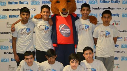 Tower Hamlets unbeaten squad and their foxy mascot... ready to take on Youth Games Lord's finals