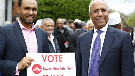 Mayor of Tower Hamlets Lutfur Rahman and supporters campaigning last year in Stepney. Picture: Isabe