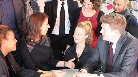 Shadow Education Secretary Tristram Hunt (far right) meets youngsters at City Gateway with Women's m