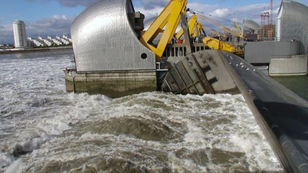 Thames Barrier in action against flooding
