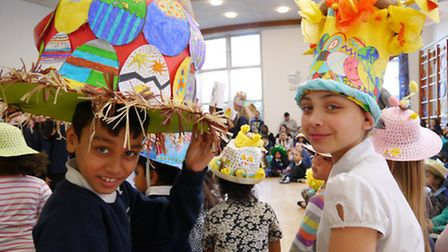 Lavish Easter bonnets for two youngsters at Arnhem Wharf Primary [photo: Anthony Gray]