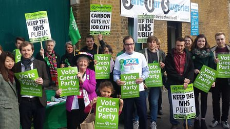 Sea of green... banners launch Green Party's General Election campaign at Whitechapel