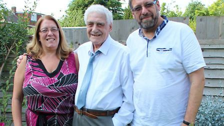 Jerry Cooper (centre) with his daughter Marilyn Ehren and son Ivor Cooper