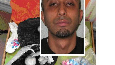 Jailed... drug-dealer Mohammed Rahman [inset] with heroin and crack cocaine police found on him