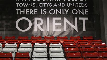 A poster is seen promoting Leyton Orient at the back of the South Stand (pic: Gavin Ellis/TGSPHOTO)