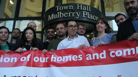 Holland Estate tenants from Spitalfields protesting at Tower Hamlets Council meeting