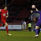 O's Darius Henderson sees his effort saved by Stephen Bywater (pic: Simon O'Connor)