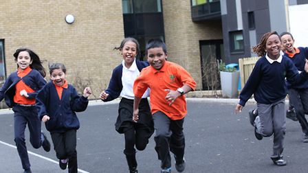 What fun... more playground space at Woolmore Primary's new school [photos: Rehan Jamil]
