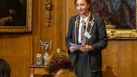 Beatrice Green, 15, gives speech on driverless cars wirth warning to judges at Lloyds of London