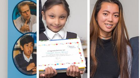 Your candidates for Downing Street... Tahiyah Ahmed, 7, and Amy Mat, 17 with their certificates
