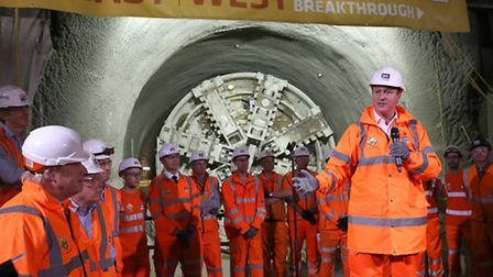 Cameron gives Crossrail workers a good talking to 120ft below ground [photo: James Jenkins]