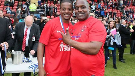 Errol McKellar with Kevin Lisbie after the charity match for Prostate Cancer UK (pic: LOFC).