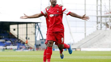 Kevin Lisbie celebrates scoring for Leyton Orient against Oldham Athletic (pic: Simon O'Connor).