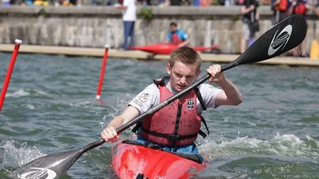 A Tower Hamlets youngster in kayak slalom action at the London Youth Games (pic: LYG)