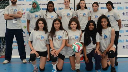 Tower Hamlets' girls' volleyball squad face the camera at the London Youth Games qualifiers (pic: LY