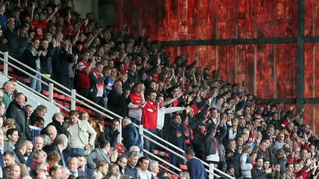 Orient fans at the start of the match atSwindon (pic: Simon O'Connor)
