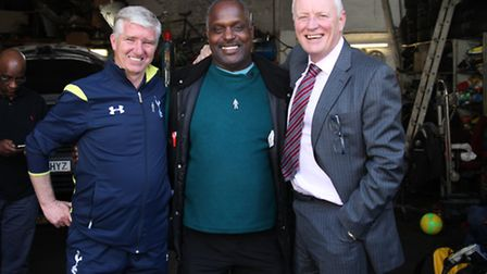 Martin Ling, Errol McKellar and Barry Hearn are all smiles ahead of the charity match for Prostate C