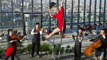 Acrobatics in the Sky Garden in City Festival's newest venue at 20 Fenchurch St, near Aldgate
