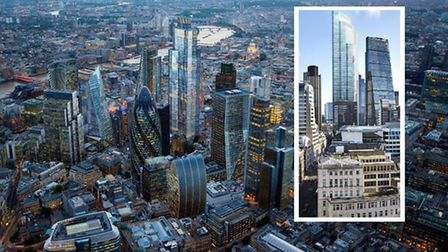 Proposed tower at 22 Bishopsgate and [insert] view from The Momnument looking north [image: Hayes Da