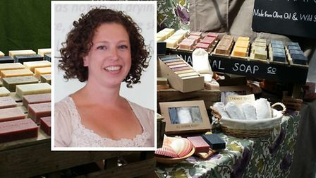 Eliza Riddell [inset] and her All Natural Soap stall at Spitalfields Market