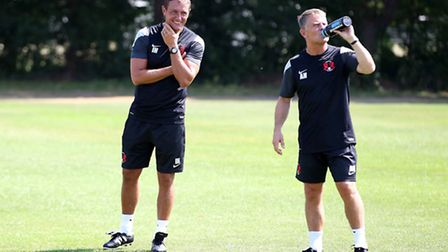 Leyton Orient head coach Ian Hendon and his new assistant manager Andy Hessenthaler (right) look on