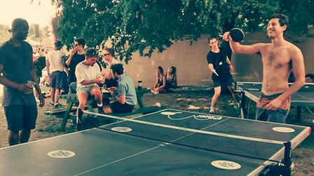 Ping Pong table at 2014 Lovebox Fest