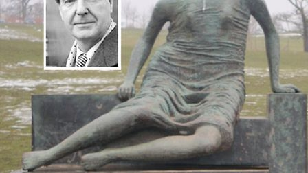 Henry Moore (inset) and his 'Old Flo' sculpture kept for safe keeping in a Yorkshire field